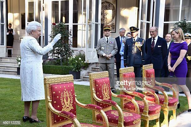 Queen Elizabeth II attends a reception at the British Embassy during an Official visit in Paris ahead of the 70th Anniversary Of The DDay on June 5...