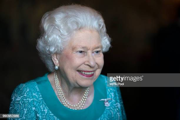 Queen Elizabeth II attends a reception for 603 Squadron, Royal Auxiliary Air Force, who have been honoured with the Freedom of The City of Edinburgh,...