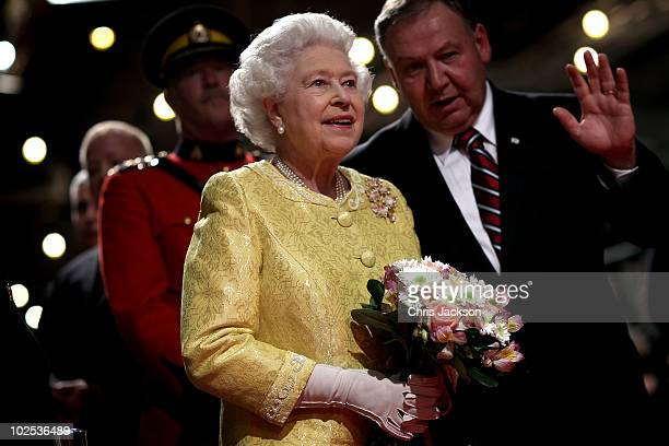 Queen Elizabeth II attends a reception for 'A Celebration of Novia Scotia' at the Cunard Centre on June 29 2010 in Halifax Canada The Queen and Duke...