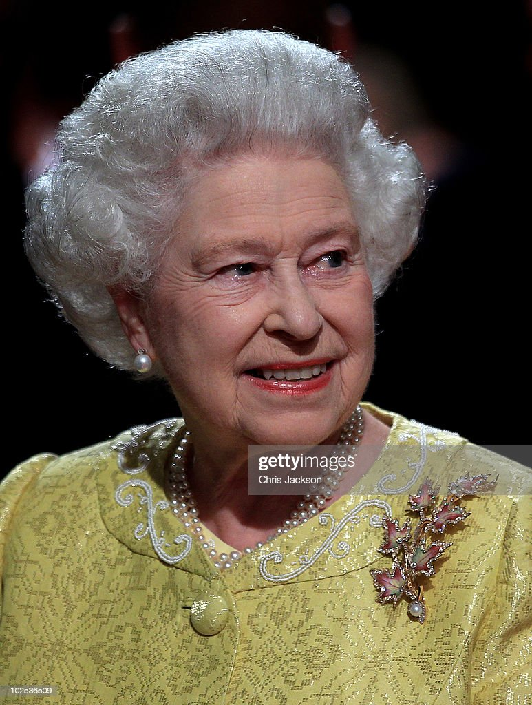 Queen Elizabeth II attends a reception for 'A Celebration of Novia Scotia' at the Cunard Centre on June 29, 2010 in Halifax, Canada. The Queen and Duke of Edinburgh are on an eight day tour of Canada starting in Halifax and finishing in Toronto. The trip is to celebrate the centenary of the Canadian Navy and to mark Canada Day. On July 6th, the royal couple will make their way to New York where the Queen will address the UN and visit Ground Zero.