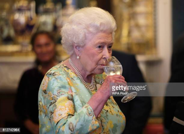 Queen Elizabeth II attends a reception for winners of The Queen's Awards for Enterprise, at Buckingham Palace on July 11, 2017 in London, England.