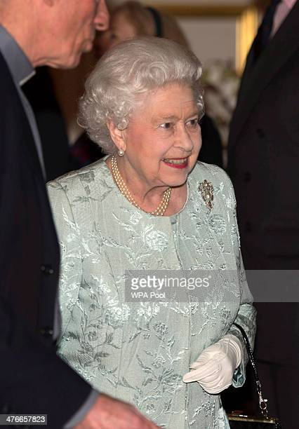 Queen Elizabeth II attends a reception to mark the launch of the Christ Church Cathedral Music Trust at St James's Palace on March 4 in London England