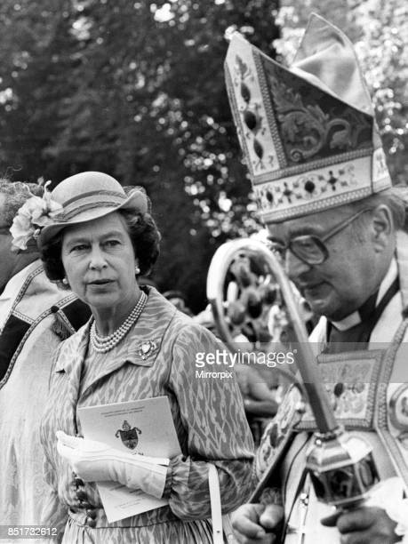 Queen Elizabeth II attends a service at Brecon Cathedral to celebrate the Diamond Jubilee of the Diocese of Swansea and Brecon, The Queen is pictured...