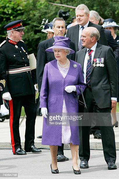 Queen Elizabeth II attends a service at the Falkland Islands Memorial Chapel to mark the 25th anniversary of Liberation Day June 14 2007 in...