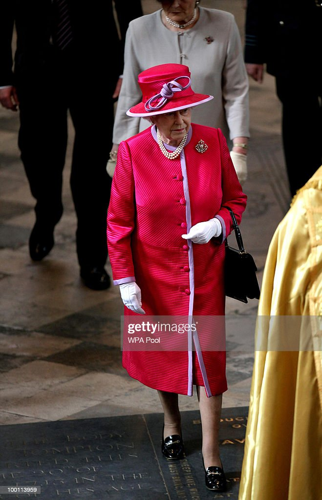 Queen Elizabeth II attends a service at Westminster Abbey as part of a visit to the Abbey and Westminster School, on the 450th anniversary of the granting of their Royal Charter by Queen Elizabeth I, on May 21, 2010 in London, England.