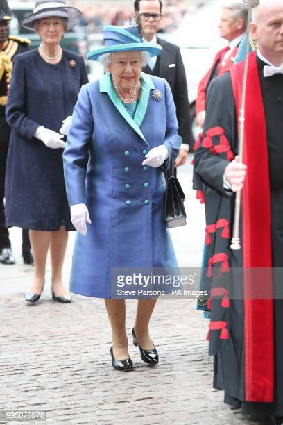 Queen Elizabeth II attends a service at Westminster Abbey London to mark the centenary of the Royal Air Force