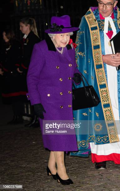 Queen Elizabeth II attends a service at Westminster Abbey marking The Centenary Of WW1 Armistice at Westminster Abbey on November 11 2018 in London...