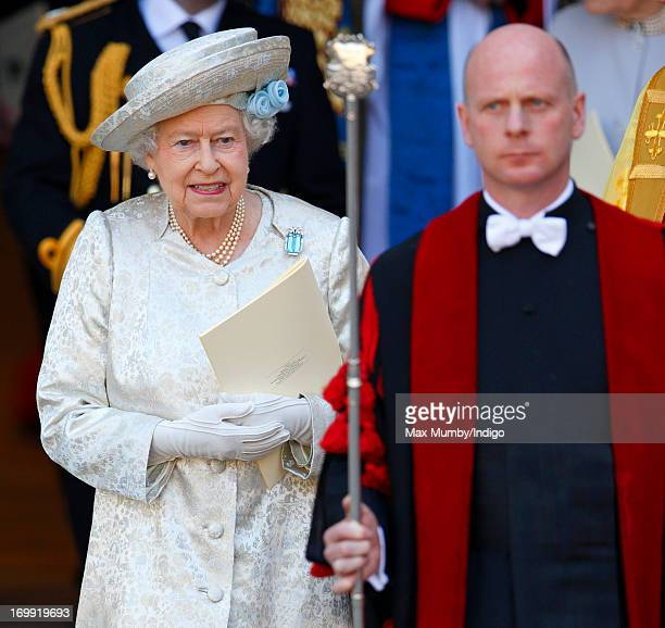 Queen Elizabeth II attends a service of celebration to mark the 60th anniversary of her Coronation at Westminster Abbey on June 4 2013 in London...