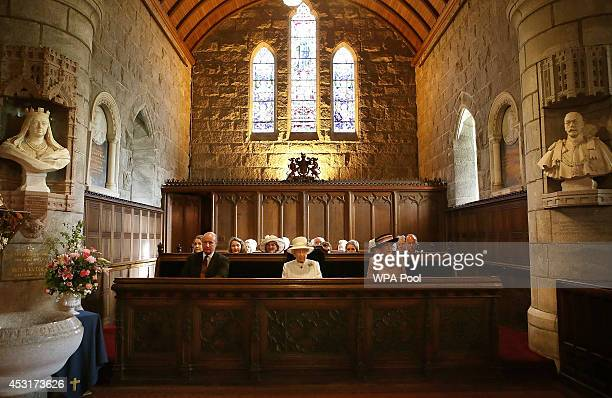 Queen Elizabeth II attends a service of commemoration at Crathie Kirk Church on August 4, 2014 in Crathie, Aberdeenshire, Scotland. Monday 4th August...