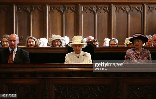 Queen Elizabeth II attends a service of commemoration at Crathie Kirk Church on August 4 2014 in Crathie Aberdeenshire Scotland Monday 4th August...