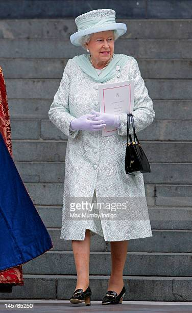 Queen Elizabeth II attends a Service of Thanksgiving to celebrate her Diamond Jubilee at St Paul's Cathedral on June 5, 2012 in London, England. For...