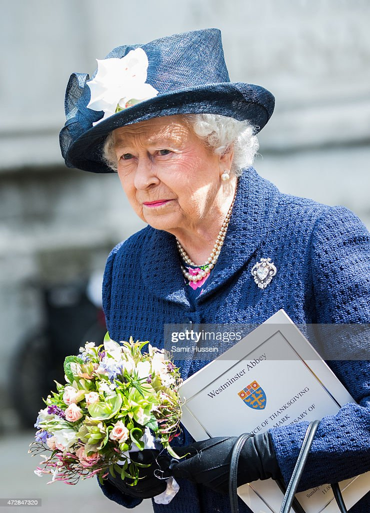 Queen Elizabeth II attends a Service of Thanksgiving to mark the 70th anniversary of Victory in Europe at Westminster Abbey on May 10, 2015 in London, England.