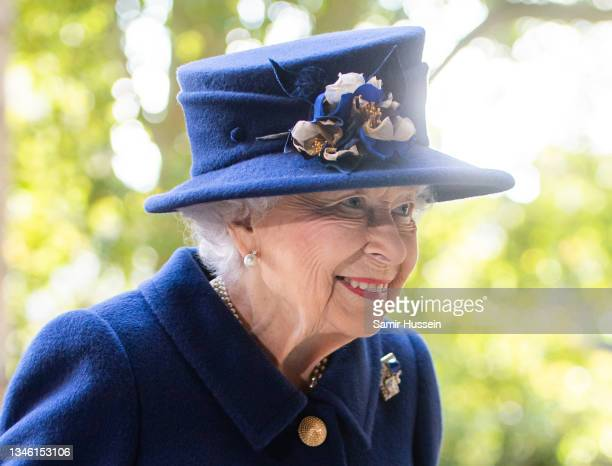 Queen Elizabeth II attends a service of Thanksgiving to mark the centenary of The Royal British Legion at Westminster Abbey on October 12, 2021 in...