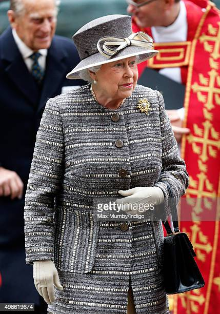 Queen Elizabeth II attends a service to mark the Inauguration of the Tenth General Synod of the Church of England at Westminster Abbey on November 24...