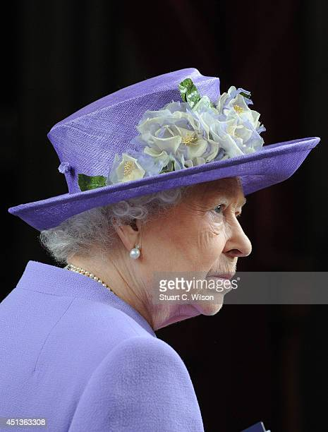 Queen Elizabeth II attends a Solemn Drumhead service at Royal Hospital Chelsea on June 28 2014 in London England
