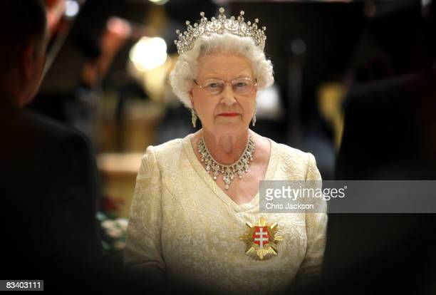 Queen Elizabeth II attends a State Banquet at the Philharmonic Hall on the first day of a tour of Slovakia on October 23 2008 in Bratislava Slovakia...