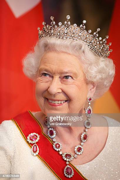 Queen Elizabeth II attends a State Banquet on day 2 of a four day State Visit on June 24, 2015 in Berlin, Germany.