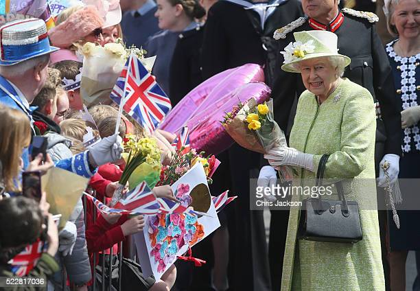 Queen Elizabeth II attends a Walkabout to celebrate her 90th Birthday on April 21 2016 in Windsor England