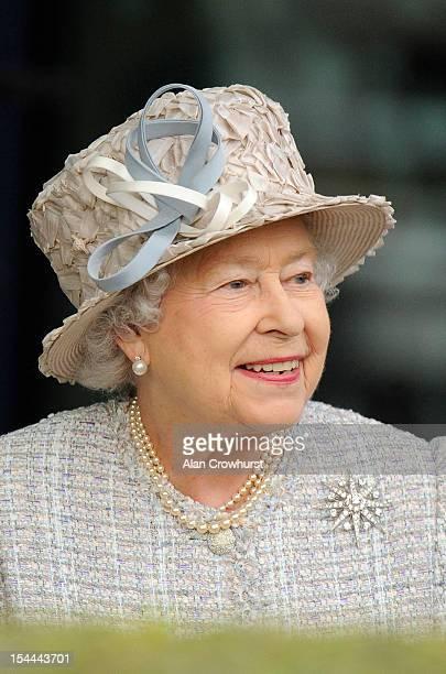 Queen Elizabeth II attends Ascot racecourse on October 20 2012 in Ascot England