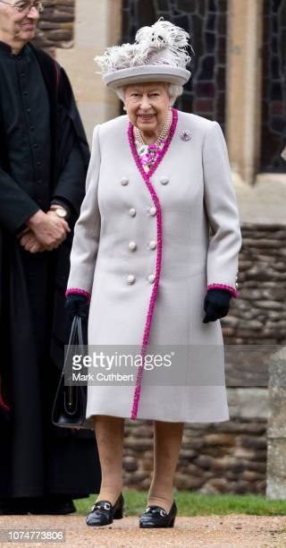 Queen Elizabeth II attends Christmas Day Church service at Church of St Mary Magdalene on the Sandringham estate on December 25 2018 in King's Lynn...