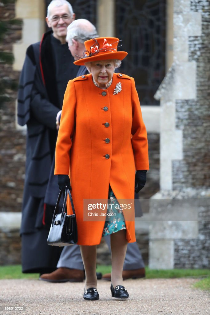 Queen Elizabeth II attends Christmas Day Church service at Church of St Mary Magdalene on December 25, 2017 in King's Lynn, England.