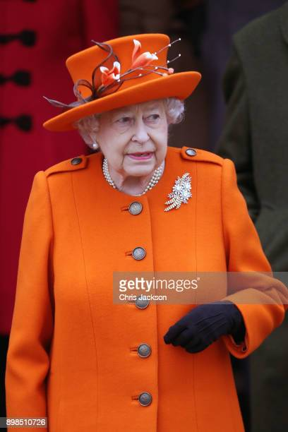 Queen Elizabeth II attends Christmas Day Church service at Church of St Mary Magdalene on December 25 2017 in King's Lynn England