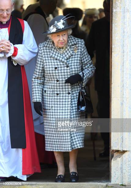 Queen Elizabeth II attends church at St Mary the Virgin church at Hillington in Sandringham on January 19, 2020 in King's Lynn, England.