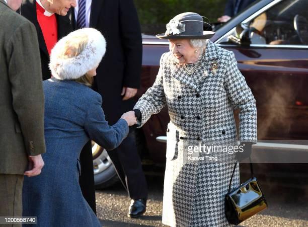 Queen Elizabeth II attends church at St Mary the Virgin church, Hillington in Sandringham on January 19, 2020 in King's Lynn, England.