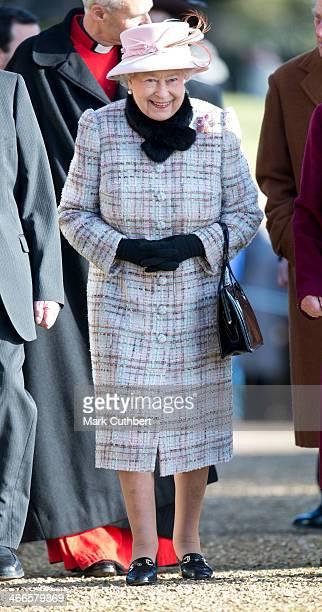 Queen Elizabeth II attends church at West Newton on February 2 2014 in King's Lynn England