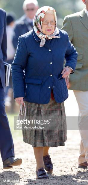 Queen Elizabeth II attends day 1 of the Royal Windsor Horse Show in Home Park on May 10 2017 in Windsor England