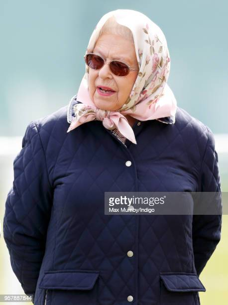 Queen Elizabeth II attends day 3 of the Royal Windsor Horse Show in Home Park on May 11 2018 in Windsor England This year marks the 75th Anniversary...