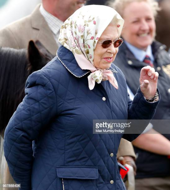 Queen Elizabeth II attends day 3 of the Royal Windsor Horse Show in Home Park on May 11, 2018 in Windsor, England. This year marks the 75th...