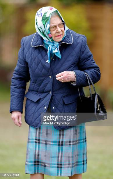 Queen Elizabeth II attends day 4 of the Royal Windsor Horse Show in Home Park on May 12, 2018 in Windsor, England. This year marks the 75th...