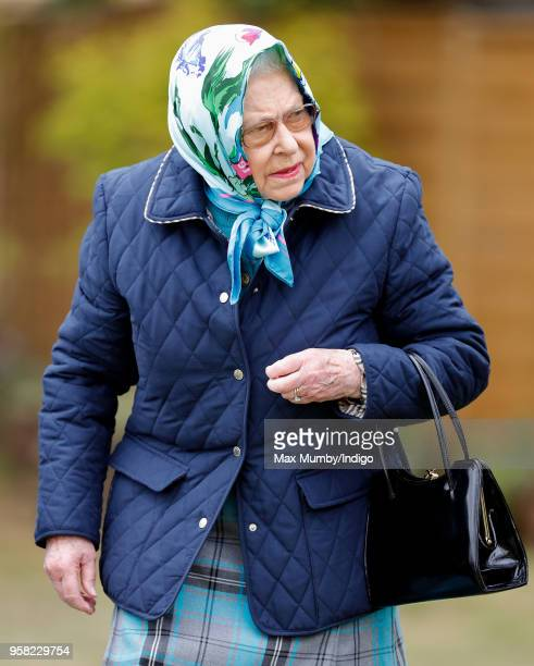 Queen Elizabeth II attends day 4 of the Royal Windsor Horse Show in Home Park on May 12 2018 in Windsor England This year marks the 75th Anniversary...