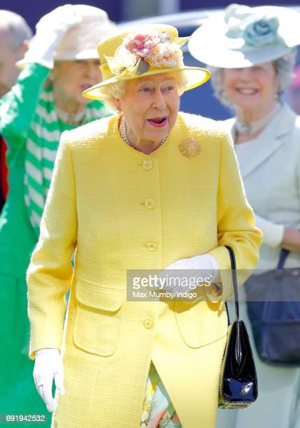 Queen Elizabeth II attends Derby Day during the Investec Derby Festival at Epsom Racecourse on June 3, 2017 in Epsom, England.