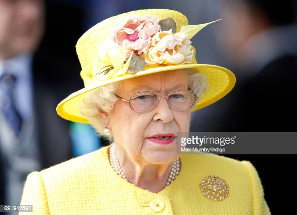 Queen Elizabeth II attends Derby Day during the Investec Derby Festival at Epsom Racecourse on June 3 2017 in Epsom England