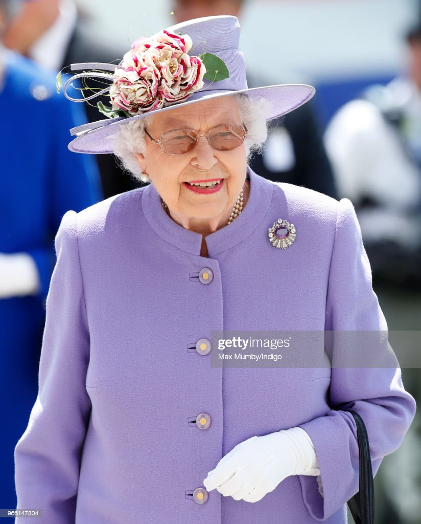 Queen Elizabeth II attends Derby Day of the Investec Derby Festival at Epsom Racecourse on June 2, 2018 in Epsom, England.