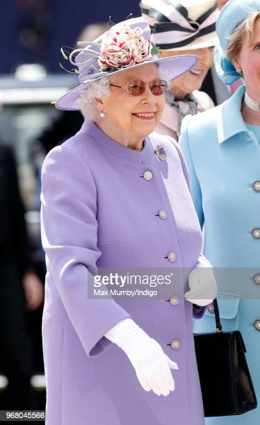 Queen Elizabeth II attends Derby Day of the Investec Derby Festival at Epsom Racecourse on June 2 2018 in Epsom England