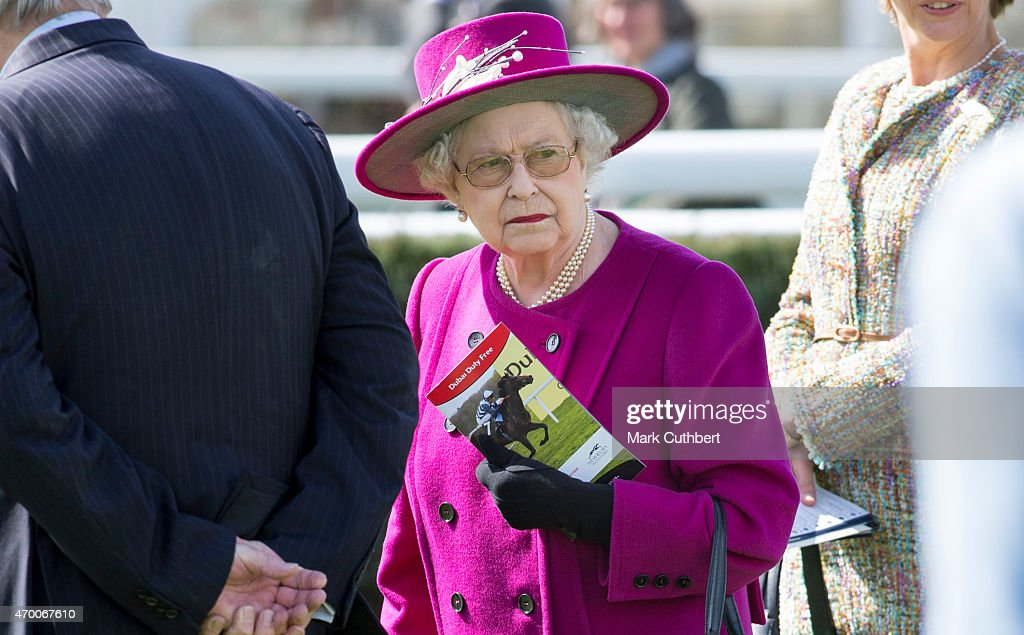 Queen Elizabeth II attends Dubai Duty Free Spring Trials Meeting at Newbury Racecourse on April 17, 2015 in Newbury, England.