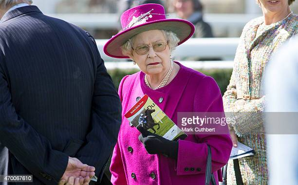 Queen Elizabeth II attends Dubai Duty Free Spring Trials Meeting at Newbury Racecourse on April 17 2015 in Newbury England