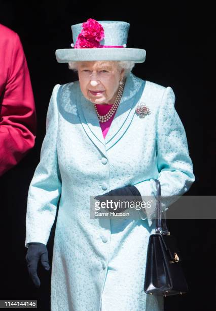 Queen Elizabeth II attends Easter Sunday service at St George's Chapel on April 21 2019 in Windsor England