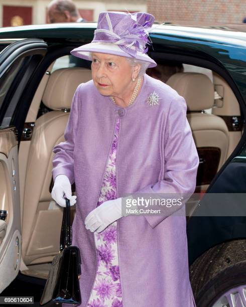 Queen Elizabeth II attends Evensong in celebration of the centenary of the Order of the Companions of Honour at Hampton Court Palace on June 13 2017...