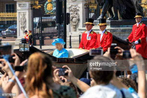 Queen Elizabeth II attends her birthday celebration called Trooping The Colour on June 9 2018 in London England