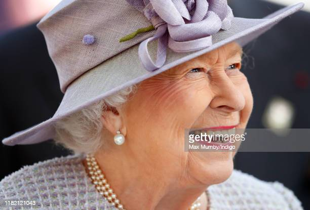 Queen Elizabeth II attends QICPO British Champions Day at Ascot Racecourse on October 19, 2019 in Ascot, England.