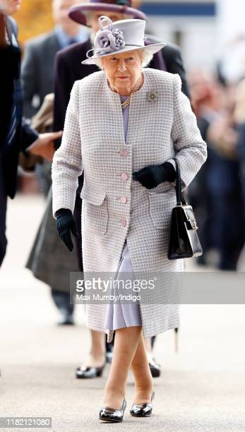 Queen Elizabeth II attends QICPO British Champions Day at Ascot Racecourse on October 19 2019 in Ascot England