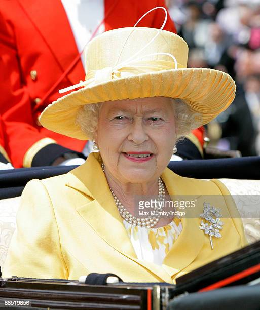 HM Queen Elizabeth II attends Royal Ascot at Ascot Racecourse on June 16 2009 in Ascot England