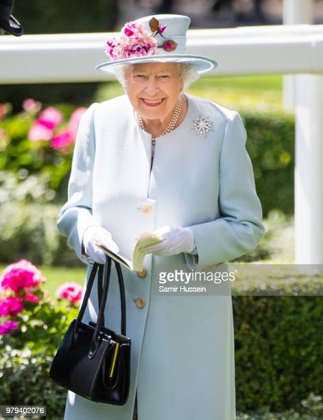 Queen Elizabeth II attends Royal Ascot Day 2 at Ascot Racecourse on June 20, 2018 in Ascot, United Kingdom.