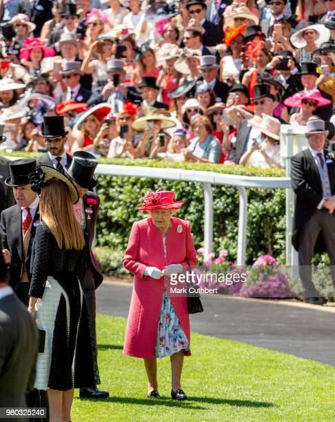 Queen Elizabeth II attends Royal Ascot Day 3 at Ascot Racecourse on June 21 2018 in Ascot United Kingdom
