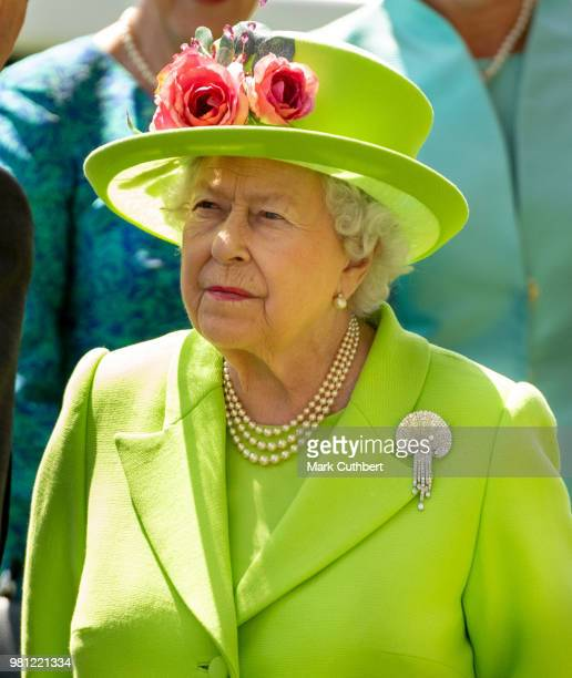 Queen Elizabeth II attends Royal Ascot Day 4 at Ascot Racecourse on June 22 2018 in Ascot United Kingdom