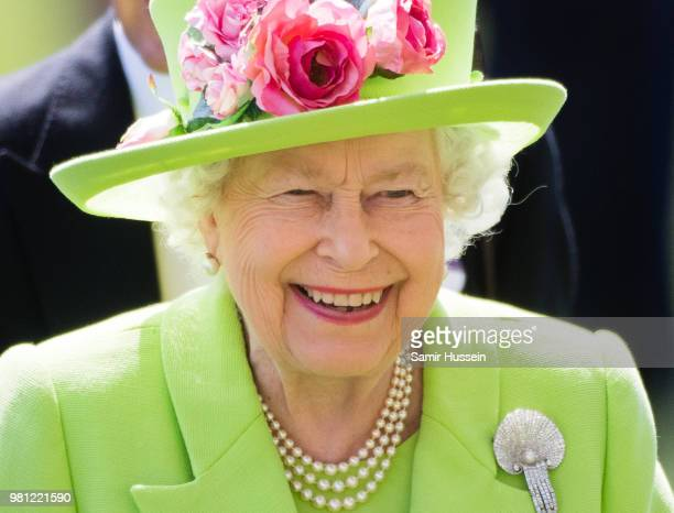 Queen Elizabeth II attends Royal Ascot Day 4 at Ascot Racecourse on June 22, 2018 in Ascot, United Kingdom.